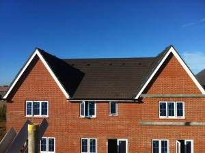 New build houses tiled roofing